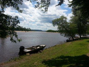 The Wisconsin River in Spring Green borders the  campground where I'm staying