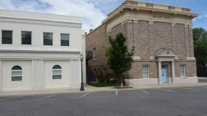 The Susanville City Hall (left) and the Masonic Temple. Downtown Susanville, California.