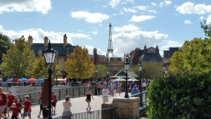 The start of World Showcase - more than a mile of international themed restaurants and souvenir shops.