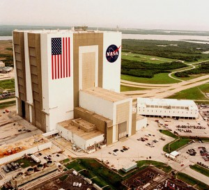 The Vehicle Assembly Building (NASA Photo - my photos of the VAB weren't any good).  Standing alone, it's hard to get perspective, but the flag is 209 x 110 feet - the stripes are about 9 feet wide (wider than my RV).  The VAB is one of the largest buildings in the world - it is almost twice as tall as the Statue of Liberty, interior volume is 2/3 larger than the Pentagon or 3.75 times as much as the Empire State Building.