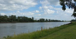 The Missouri River runs by Haworth Park in Bellevue, NE. On the other side, Council Bluffs, Iowa.